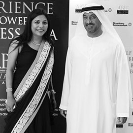 H.H. Sheikh Ahmed Bin Saeed Al Maktoum, Chairman, Emirates Airline & Group with Ms Malini N. Menon, Founder & Managing Director, IEDEA at the ABLF Awards 2013