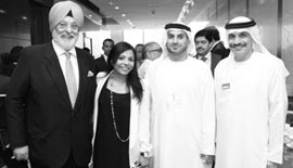 Ms Malini N. Menon, Founder & Managing Director, IEDEA, with (left to right) Mr Surinder Singh, H.E. Mohamed Helal Al Muhairi, Director General, Abu Dhabi Chamber, UAE, and Dr. Tayeb Kamali, Vice Chancellor, Higher Colleges of Technology(HCT), UAE, at the Asian Business Leadership Forum 2012