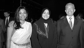 Ms Malini N. Menon, Founder & Managing Director, IEDEA, with Mr & Mrs Syed M. Salahuddin, Managing Director, ETA Ascon and Star Group, UAE at the launch of ICLF India-UAE book launch in 2010