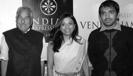 Ms Malini N. Menon, Founder & Managing Director, IEDEA, with H.E. Oommen Chandy, Chief Minister, Kerala, India, and Mr Chandy Oommen, at the ICLF India-UAE Book launch in 2010