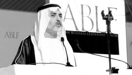 H.H. Sheikh Nahayan Mabarak Al-Nahayan, Minister of Culture, Youth and Community Development, UAE, delivering a keynote speech at the ABLF Awards 2012