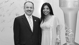 Ms Malini N. Menon, Founder & Managing Director, IEDEA, with H.E. Khalil Abdullah Al Khonji, Chairman, Federation of GCC Chambers & Oman Chamber of Commerce and Industry at the ABLF Awards 2011