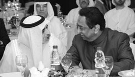 H.H. Sheikh Nahayan Mabarak Al-Nahayan, Minister of Culture, Youth and Community Development, UAE, with H.E. Kamal Nath, Union Minister of Urban Development and Parliamentary Affairs, Government of India at the Asian Business Leadership Forum 2012