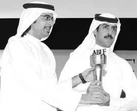 H.H. Shaikh Khalifa bin Rashid Al Khalifa and H.H. Shaikh Khalifa bin Ali Al Khalifa, Kingdom of Bahrain receiving the ABLF Statesman Award 2013 on behalf of H.R.H. Sheikh Khalifa bin Salman Al Khalifa