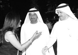 H.H. Sheikh Ahmed Bin Saeed Al Maktoum, Chairman, Emirates Airline & Group, and H.E. Sultan Bin Saeed Al Mansouri, Minister of Economy, UAE, with Ms Malini N. Menon, Founder & Managing Director, IEDEA at the ABLF Awards 2013
