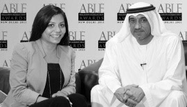 H.H. Sheikh Ahmed Bin Saeed Al Maktoum, Chairman, Emirates Airline & Group with Ms Malini N. Menon, Founder & Managing Director, IEDEA in an interview for the ABLF Awards 2011