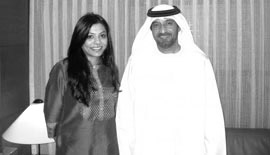 Ms Malini N. Menon, Founder & Managing Director, IEDEA, with H.H. Sheikh Ahmed Bin Saeed Al Maktoum, Chairman, Emirates Airline & Group, for the launch of the ICLF India-UAE coffee table book in 2010