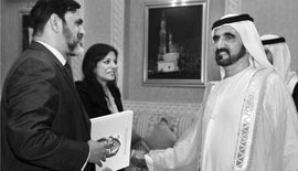 Ms Malini N. Menon, Founder & Managing Director, IEDEA, with H.H. Sheikh Mohammed Bin Rashid Al Maktoum, Vice President and Prime Minister of the UAE, and Ruler of Dubai, for the ICLF India-UAE book launch in 2010 and Mr Venu Rajamony, Press Secretary to the President of India