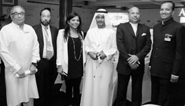 Ms Malini N. Menon, Founder & Managing Director, IEDEA, with (left to right) Mr Rajen Kilachand, Chairman, Dodsal Group, UAE, Mr S. M. Syed Khalil, Chairman & Managing Director, Jashanmal Group – Gulf, Mr Shamsuddin Bin Mohiyuddin, Director, Regency Group, UAE, and Dr P. Mohamed Ali, Founder & Vice Chairman, Galfar Contracting and Engineering SAOG, Sultanate of Oman and Mr Naveen Jindal, Chairman, Jindal Steel and Power Ltd, India, at the Asian Business Leadership Forum 2012