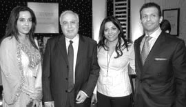 Ms Malini N. Menon, Founder & Managing Director, IEDEA, with (left to right) Ms Sunita Menon, H.E. Kapil Sibal, Union Minister of Human Resource Development, Government of India (2009-2012), and Mr Sunny Varkey, Founder and Chairman, GEMS Education, UAE, at the Guruvar Awards 2009