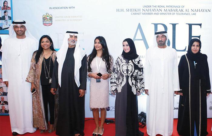 (L-R) H.E. Dr Sultan Al Jaber, Malini N. Menon, H.H. Sheikh Nahayan Mabarak Al Nahayan, Meghna Menon, H.E. Dr Amal Al Qubaisi, H.H. Sheikh Ahmed bin Saeed Al Maktoum, H.E. Maitha Al Shamsi, H.E. Hussain Jasim Al Nowais