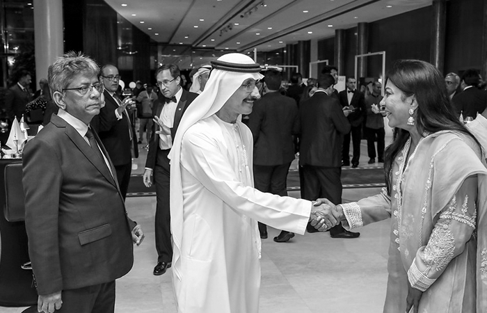 DP World Group Chairman & CEO Sultan Ahmed bin Sulayem with Malini Menon